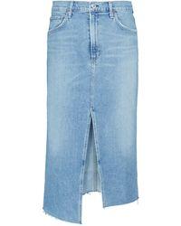 Citizens of Humanity Aubrey Mid-rise Denim Midi Skirt - Blue