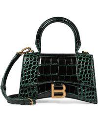 Balenciaga Borsa Hourglass XS in pelle stampata - Verde