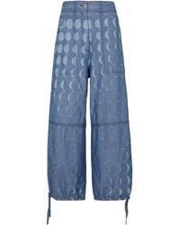 Loewe Paula's Ibiza pantalones anchos de chambray - Azul