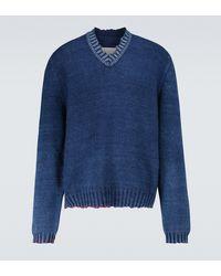 Maison Margiela Pull en coton mélangé - Bleu