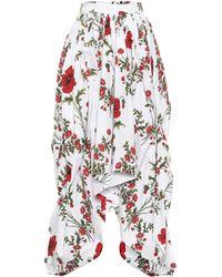 Alexander McQueen Floral-printed Cotton Skirt - White