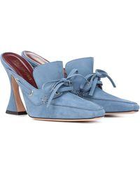 Sies Marjan Mules aus Veloursleder - Blau