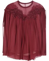 Chloé - Lace-trimmed Silk Top - Lyst