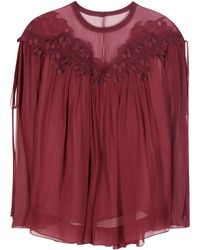 Chloé | Lace-trimmed Silk Top | Lyst