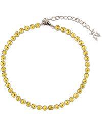 AMINA MUADDI Bracelet de cheville Tennis à cristaux - Jaune