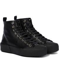 Jil Sander High-Top-Sneakers aus Leder - Schwarz