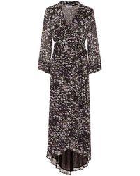 Ganni Floral Print Wrap Dress - Black