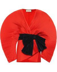 Gucci Plissierte Jacke aus Satin - Mehrfarbig