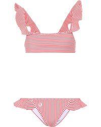Fendi Bikini de volantes de rayas - Multicolor