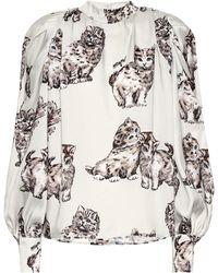 MSGM Cat-print Faille Blouse - White