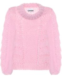 Ganni Wool And Mohair Jumper - Pink
