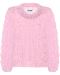 Ganni Wool And Mohair Sweater - Pink