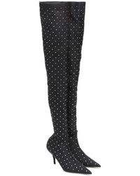 Balenciaga Knife Crystal-embellished Over-the-knee Boots - Black