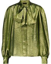 Dundas Silk-blend Lamé Shirt - Green