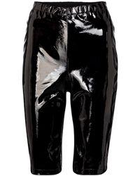 David Koma Patent Leather Biker Shorts - Black