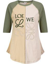 Loewe Besticktes T-Shirt aus Baumwolle - Natur