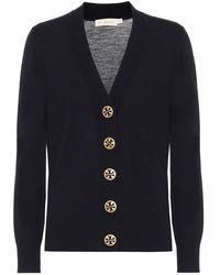 Tory Burch Cardigan Simone in lana vergine - Blu