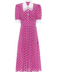 Alessandra Rich Polka-dot Silk Dress - Purple