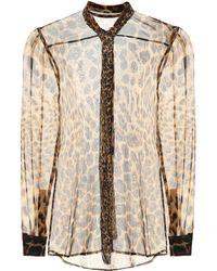 aadc7b98cbcbe0 Saint Laurent Polka Dot Silk Georgette Shirt - Lyst