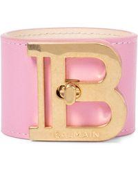 Balmain Bracelet manchette B-Twist en cuir - Rose