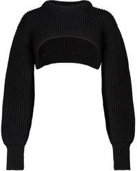 Alexander McQueen Bolero de algodón acanalado - Negro