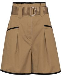 Self-Portrait High-rise Belted Shorts - Natural