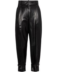 Alexander McQueen High-rise Tapered Leather Trousers - Black