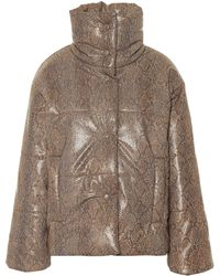 Nanushka Hide Faux Leather Puffer Jacket - Brown