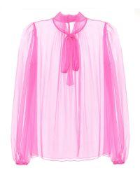 Dolce & Gabbana Schluppenbluse Aus Seidenkrepon - Pink