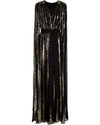 Elie Saab Robe longue en tulle pailleté à manches cape - Noir