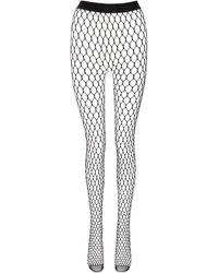 Wolford X Amina Muaddi Fischnetzstrumpfhose mit Kristallverzierung - Schwarz