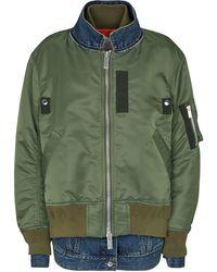 Sacai Chaqueta de jeans y nylon - Verde