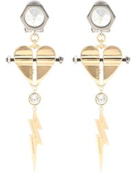 Prada Crystal-embellished Clip-on Earrings - Metallic