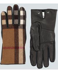Burberry Guanti in pelle e lana - Multicolore