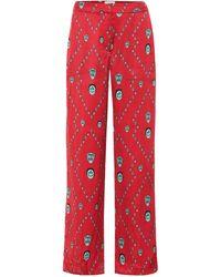 Kirin Bedruckte Hose aus Satin - Rot