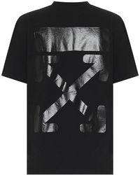 Off-White c/o Virgil Abloh T-shirt in cotone con stampa - Nero