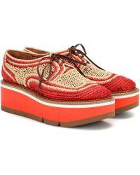 Clergerie Acajou Raffia Platform Oxford Shoes - Orange