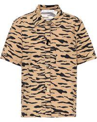 Rejina Pyo Nico Tiger-print Cotton Shirt - Natural