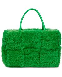 Bottega Veneta Arco Small Shearling Tote Bag - Green