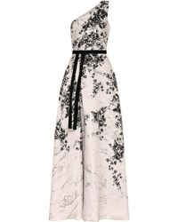 Marchesa notte Robe longue en brocart - Multicolore