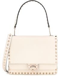 Valentino Garavani Rockstud Grained Leather Shoulder Bag - White