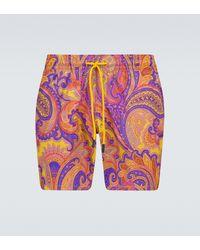 Etro Paisley Printed Swim Shorts - Yellow