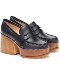 Gabriela Hearst Augusta Leather Loafer Pumps - Black