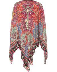 Etro Poncho en mezcla de seda estampado - Multicolor