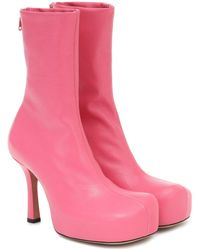 Bottega Veneta Ankle Boots BV Bold aus Leder - Pink