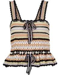 Ulla Johnson Top Zita a righe in crochet di cotone - Multicolore