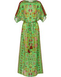 Tory Burch Printed Cotton And Silk Kaftan - Green