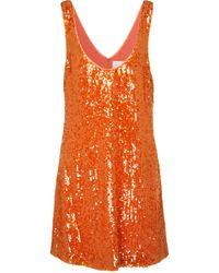Galvan London Robe Delirium à sequins - Orange