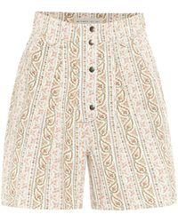 Etro Short imprimé en coton à taille haute - Blanc