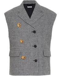 Miu Miu Checked Wool And Cashmere Vest - Black